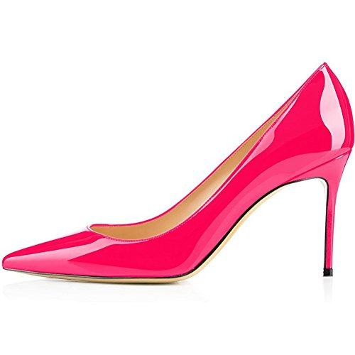 Stiletto Pumps, Comfity Sexy Pointy Toe Stiletto Heels Patent Slip On Zapatos De Boda Vestido De Fiesta Bombas De Tacón Rose