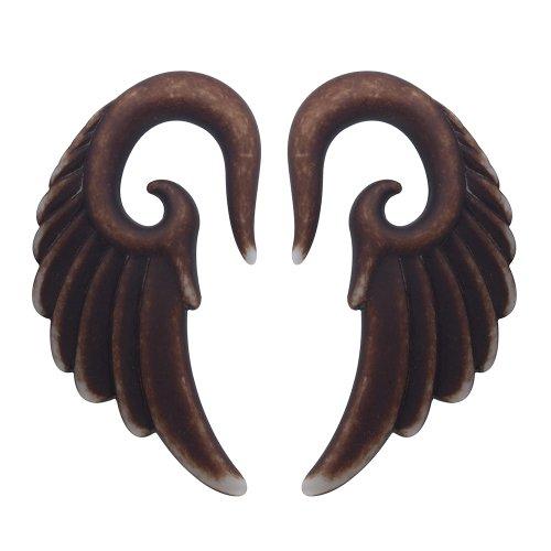 CloseoutWarehouse Acrylic Angel Wings Brown Earplugs Size 1/2 ()