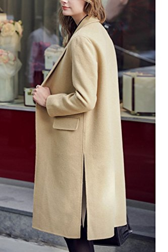 Trechcoat Women Outwear Button OL Elegant Down Lapel Warm Office Long Khaki nFqw8AUFaS