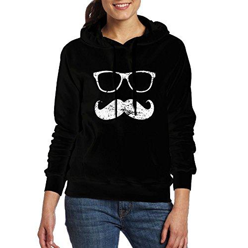 ZhiqianDF Womens Incognito - Funny Mustache and Sunglasses Casual Style Jogging Black Sweater - Cardinals Az Sunglasses