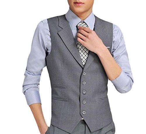 YUSKYMen YUSKY Men's Notched Lapel British Style Original Fit Vest Coat Grey 4XL