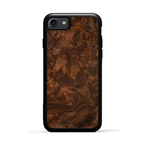Carved iPhone 7 Walnut Burl Wood Traveler Case, Unique Real Wooden Phone Cover (Rubber Bumper, Fits Apple iPhone 7)