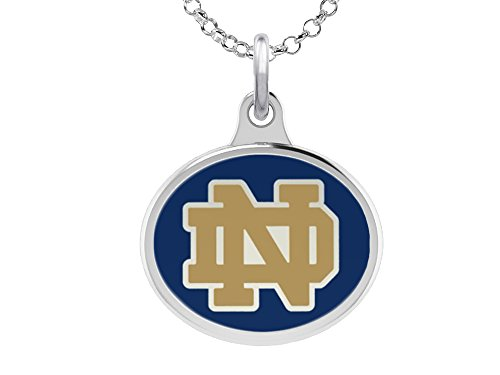 University of Notre Dame Fighting Irish ND Charm Pendant. Solid Sterling Silver with Enamel