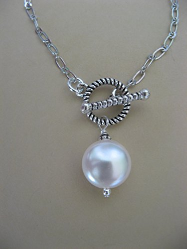 Swarovski Toggle - Swarovski Crystal Glass Coin Pearl Chain Necklace with Front Toggle Closure Artisan Jewelry