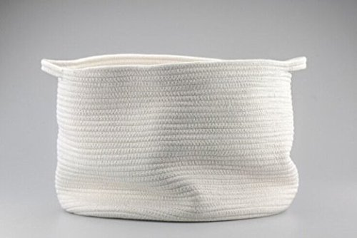 """Cotton Rope Storage Baskets, Toy Organizer for Nursery Decor, Soft Durable, 15""""x10"""",Large, Off White"""