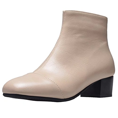 AIYOUMEI Womens Zipper Square Toe Mid Heel Autumn Winter Solid Ankle Boots Apricot NKz61l54H