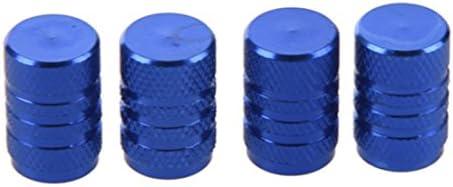 Semoic 4個青の合金の車のタイヤバルブは、自動バルブキャップキャップ