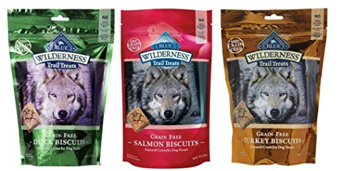 Blue Buffalo Wilderness Trail Treats GrainFree Dog Biscuits 3 Flavor Variety Bundle: (1) Blue Wilderness Trail Treats Duck, (1) Blue Wilderness Trail Treats Turkey and (1) Blue Wilderness Trail Treat Review