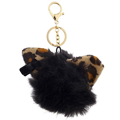 (Lux Accessories Black Leopard Print Cat Ears Faux Fur Pom Pom Keychain Bag Charm)