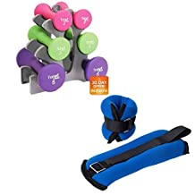 """Tone Fitness 2lb Pair of Ankle/Wrist Weights and Tone Fitness 20lb Hourglass Neoprene Dumbbell Set with """"A"""" Frame Rack"""