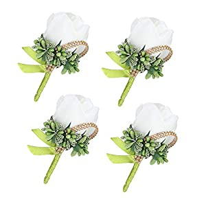 Febou Boutonniere 4PCS Wedding Boutonniere Handmade Rose Boutonniere Corsage with Pin and Clip for Groom Bridegroom Groomsman Perfect for Wedding, Prom, Party (4 Packs, Ivory) 39
