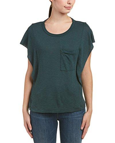 Splendid Women's Short Sleeve Ruffle Top Evergreen Shirt