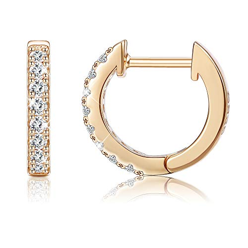 Sllaiss 925 Sterling Silver Hoop Earrings with Swarovski Cubic Zirconia Sparkling Silver Small Huggie Earring Set for Women,Rose Gold Girls,Wedding Anniversary Fashion ()
