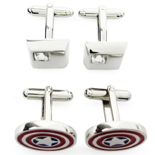 kilofly Cufflinks Combo [Set of 2 Pairs] - Captain America, with Velvet Gift Box