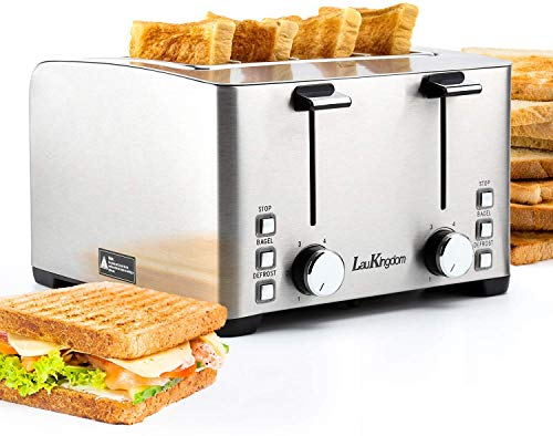 Toaster 4 Slice Wide Slot, LauKingdom Auto Pop-Up Stainless Steel 1.57″ Extra Wide Slots Toaster with 6 Shade Settings and Defrost/Cancel Button, 1500W 120V, Silver