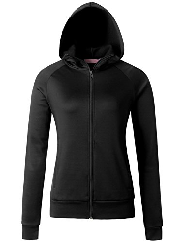 Regna X Love Coated Women Benton Springs Full-Zip Hoodie Fleece Jacket Black S by Regna X