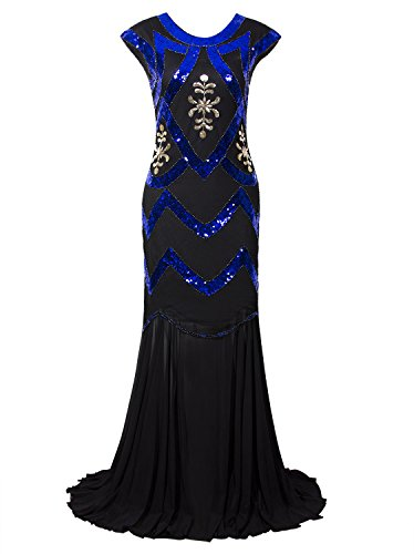 Speakeasy Theme Party Costumes (Vijiv 1920s Long Maxi Prom Gowns Sequin Mermaid Bridesmaid Formal Evening Dress)