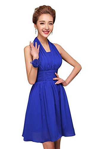 Drasawee Chiffon Dress Short Homecoming Junior Prom Evening Navy Blue Gowns Bridesmaid Halter r5xfngr