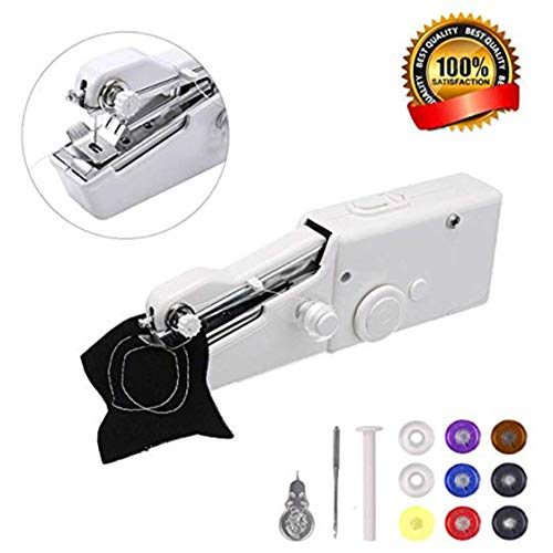 Portable Sewing Machine Handheld – Mini Sewing Machine for Kids Beginners Home or Travel Sewing – Cordless Small Handy Stitch Handheld Sewing Machine for Easy Quick Repairs Fabric Leather Denim Canvas