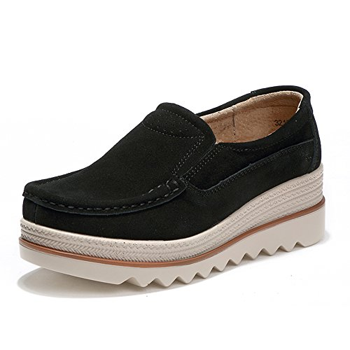 Suede Low On Women Aon Black Wide Shoes Slip Karen Top Loafers Comfort Platform Moccasins Wedge v0B5nAgc