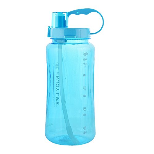 GTI 1.5L Large Capacity Sports Water Bottle, BPA Free 1.5 Liter 50 oz Wide Mouth Portable Big Plastic Bottle Leak Proof Space Cup Travel Mugs with Scale Straw Strap (Portable Plastic Bottle)