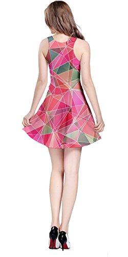 Cowcow Femmes Vecteur Coloré Abstrait Géométrique Robe Sans Manches Irisé Polygonale, Xs-5xl Verre Rose