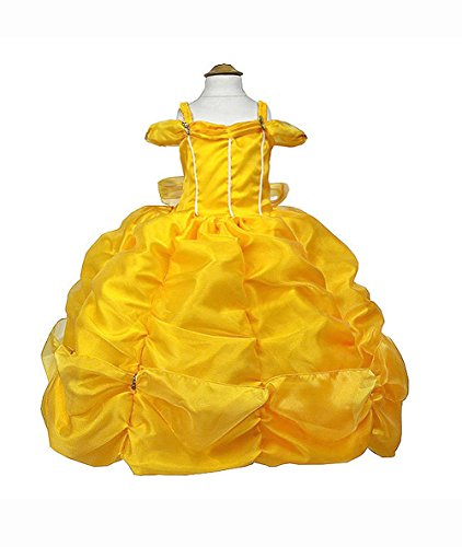 [MylittlelizShop Disney Beauty and Beast Princess Dress Kids Costume (12 Mos, Yellow)] (12 Month Girl Costume)