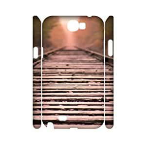 3D Dustin Train Tracks Straight Line Case for Samsung Galaxy Note 2 Protective Cute, Case for Samsung Galaxy Note 2 Protector for Girls with White