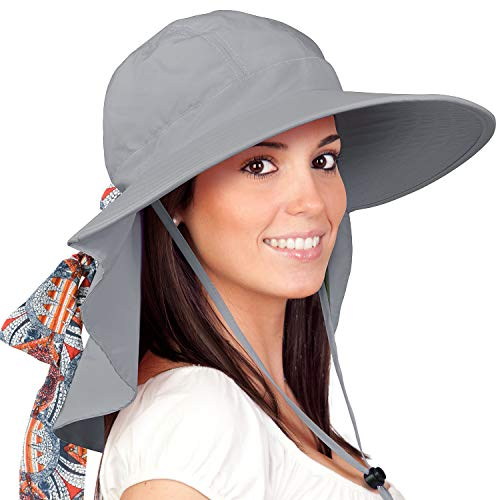 (Womens Sun Hats Neck Flap Large Brim UV Protection Foldable Fishing Hiking Cap)