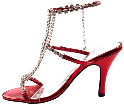 Scarpe Marichi Mani Womens Ulima-06 Tacco A Punta Aperta Con Cinturino Alla Caviglia E Cinturini In Strass Rosso