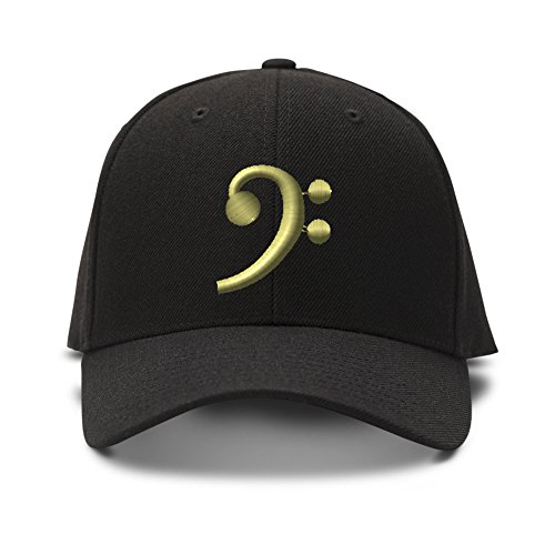 Black Bass Clef Gold Embroidered Unisex Adult Hook & Loop Acrylic Adjustable Structured Baseball Hat Cap - Black, One Size