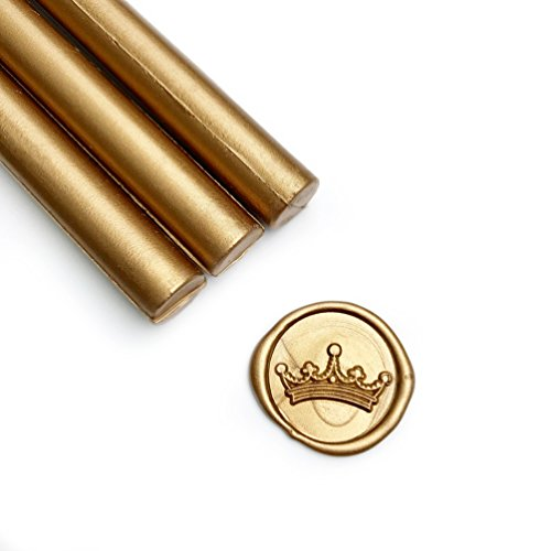 UNIQOOO Mailable Glue Gun Sealing Wax Sticks for Wax Seal Stamp - Metallic Antique Gold, Great for Wedding Invitations, Cards Envelopes, Snail Mails, Wine Packages, Gift Ideas, Pack of 8