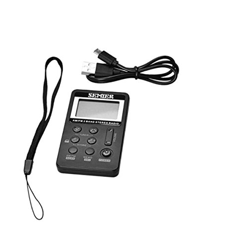 Pettstore Mini DSP Pocket Portable Digital Tuning AM / FM Stereo Radio with Earphone LCD Channel USB Charging (black) by Pettstore (Image #6)