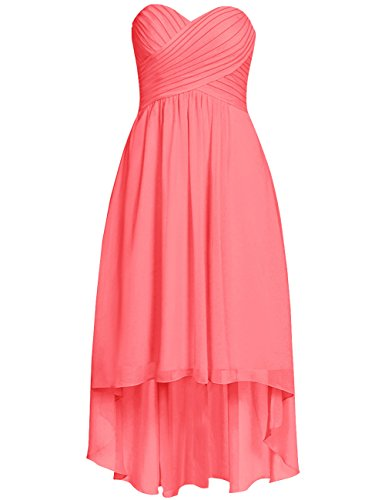 Low Chiffon High Wedding Gowns Bridesmaid Short Cdress Party Dresses Coral Ruffled Formal ERpqxnwd