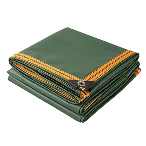 JUN Green PVC Tarpaulin- Waterproof Heavy Duty Tarp for Home Office Roof Covering Landscaping Boats Thick Oxford Canvas, 0.6 MM (Size : 5M×6M)