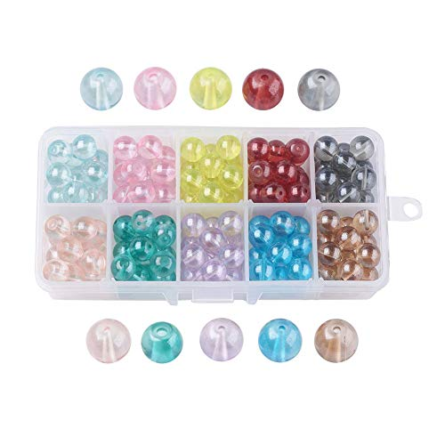 Pandahall 10 Color 10mm Round Transparent Imitation Opalite Baking Painted Glass Bead Assortment Lot with Container Box for Jewelry Making (160~180pcs/box)