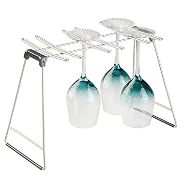 mDesign Free Standing Wine Glass Drying Rack for Kitchen Countertops - Holds 6 Glasses, Satin