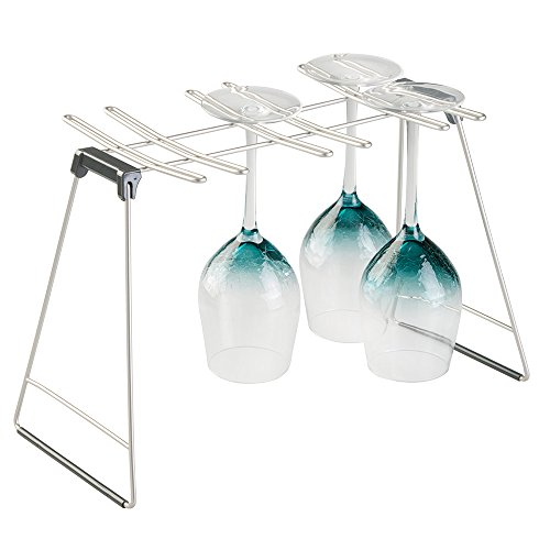 mDesign Freestanding Foldable Wine Glass and Stemware Drying