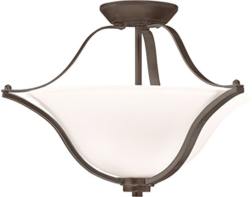Kichler 3681OZ Langford Semi Flush Mount, 2 Light Incandescent 200 Total Watts, Olde Bronze