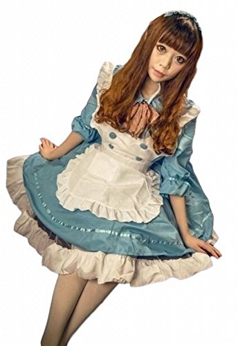 POJ Maid Costume Dress of Japan [ L Size Blue / Pink for Women with Apron ] Cosplay (L, Blue) (Cosplay Store Near Me)
