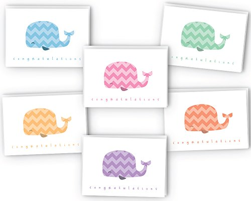 Chevron Colorful Whales Baby Congrats Cards - 48 Cards & Envelopes