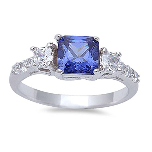 3 Stone Wedding Engagement Ring Princess Cut Square Simulated Tanzanite Round CZ 925 Sterling - Ring Stone Tanzanite 3
