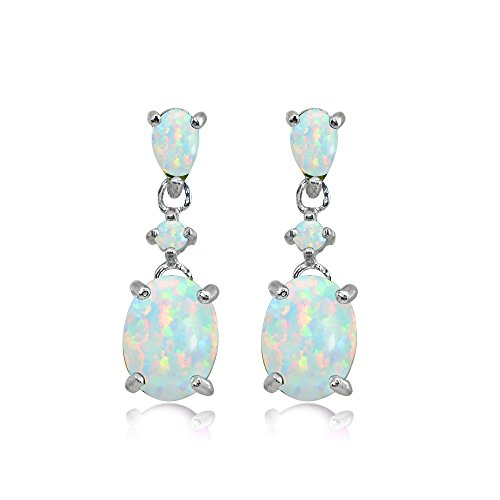 lated White Opal Oval Three Stone Dangling Stud Earrings ()