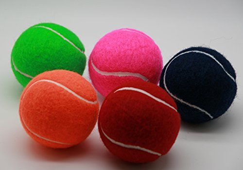 (Price's 5 Colored Tennis balls(5) pressureless, durable and long lasting. Colors: Red, Orange, Green, Pink & Blue. Made in the UK.)