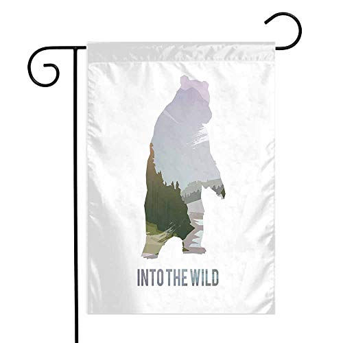 Mannwarehouse Cabin Decor Garden Flag Wild Animals of Canada Survival in The Wild Theme Hunting Camping Trip Outdoors Premium Material W12 x L18 Multicolor
