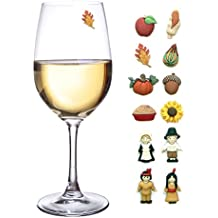 Thanksgiving Magnetic Wine Glass Charms Set of 12 Perfect Drink Markers for Stemless Glasses, Champagne Flutes & More - Great Hostess Gift