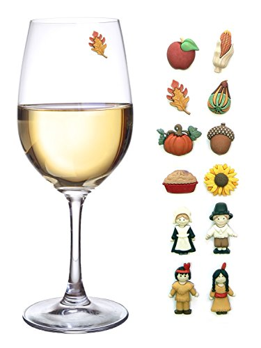 Glass Thanksgiving (Thanksgiving Magnetic Wine Glass Charms Set of 12 Perfect Drink Markers for Stemless Glasses, Champagne Flutes & More - Great Hostess Gift)