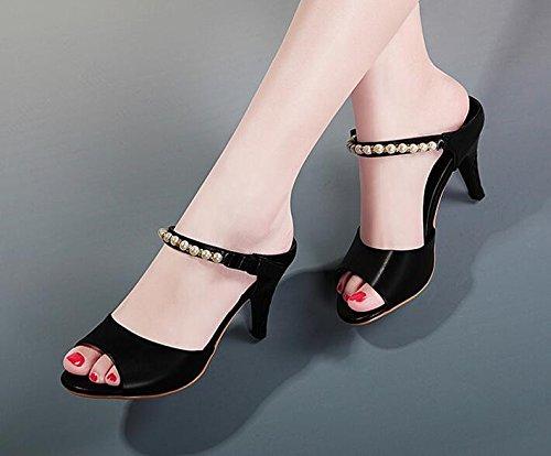 Donna pantofole Sandali le di bocca Black 8cm tallone AJUNR Alla freddi 5 asciugamani Da professione Moda papillon pesce EAfnq6