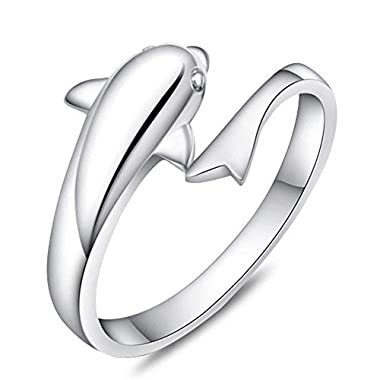 TomSunlight 925 Sterling Silver Dolphin Ring Finger Fashion Women Lady Ring Opening Adjustable gift gold