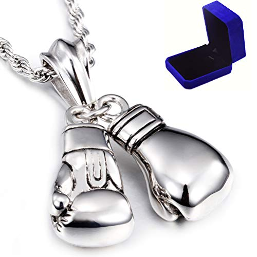 (Joyucky Titanium Steel Necklace for Men Masculine Pairs Boxing Glove Pendant Necklace Silver Plated Chain)